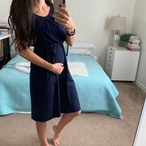 ASOS Maternity navy blue cotton dress